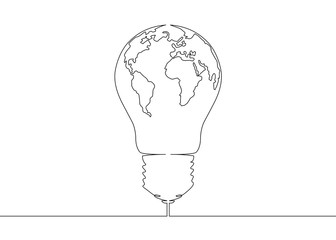 continuous line drawing light bulb symbol idea World map globe inside the lamp
