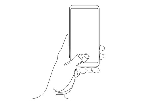 continuous line drawing In his hand phone smartphone