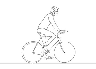 continuous line drawing man on a bicycle