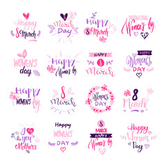 Happy Women Day Badges Set Creative Pink Lettering Calligraphy Collection On White Background Vector Illustration