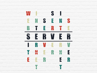 Web design concept: Painted black word Server in solving Crossword Puzzle