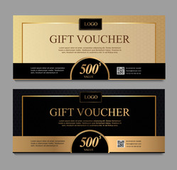 Voucher template with gold and certificate. Background design coupon, invitation, currency. Set of stylish gift voucher gold and black pattern. gift card, coupon.Isolated from the background.