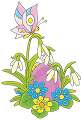 Easter egg, flowers and butterfly