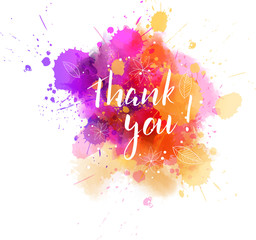 Thank you lettering on watercolored background