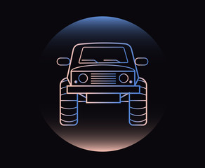 Modern Neon Thin Icon of of-road car on Black Background.