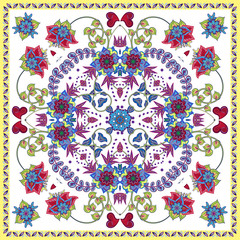 Lovely tablecloth with fantasy hand draw flowers. Beautiful ethnic vector ornament. Card, bandana print, kerchief design, napkin. Colorful pattern on white.