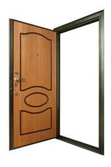 Open powerful metal safe-door with natural wood paneling