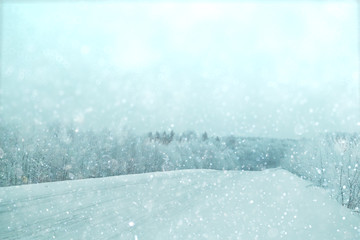 blurred background winter road snow landscape