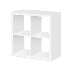 Small square shelf unit isolated on white background. Vector illustration