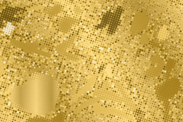 Gold grunge texture. Abstract halftone background. Vector pattern.