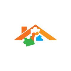 Puzzle Roof Logo Icon Design