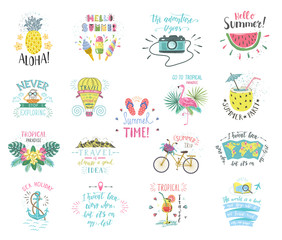 Set of Summer color hand-lettering labels and stickers. Tropical emblems with fruits. Travel postcards with quotes.