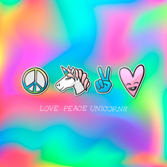 Cute emoji patches badge, love peace unicorn stickers, vector