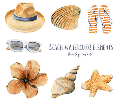 Hand drawn watercolor illustration beach set of objects hat seashell shell flip flops sandals hibiscus flower sunglasses orange and blue