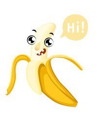 Cute cartoon banana smiling fruit with a caption cloud vector illustration isolated on white background web site page and mobile app design
