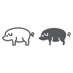 Pig line and glyph icon, farming and agriculture, pork meat vector graphics, a linear pattern on a white background, eps 10.