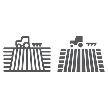 Tractor on field line and glyph icon, farming and agriculture, plowing sign vector graphics, a linear pattern on a white background, eps 10.