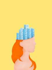 Portrait of a girl with skyscrapers in her head