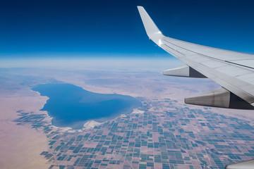 Aerial view of Salton Sea and Brawley rural scene