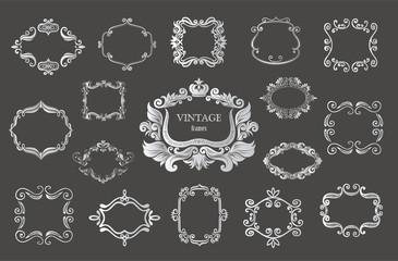 Set of silver vintage floral frames and monograms.