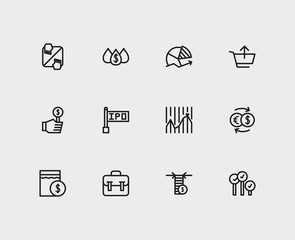 Trading icons set. Chart and trading icons with exchange, stock market and sell. Set of elements including analysis for web app logo UI design.