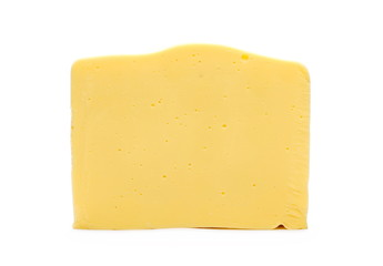 Slice of cheese, isolated on white background