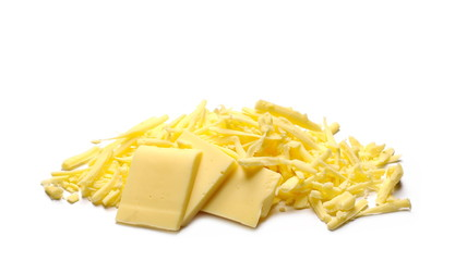 Cheese slices with shavings isolated on white background