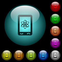 Mobile science icons in color illuminated glass buttons