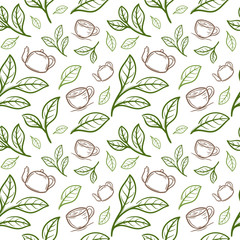 tea leaf with cup seamless pattern