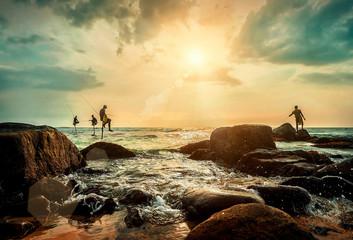 SRI LANKA - January 10: Traditional Sri Lankian sea fishermans a