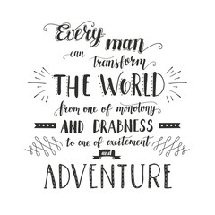 Vector hand-lettering quotes of travel. Phrase for tourism banner, flyer, magazine.