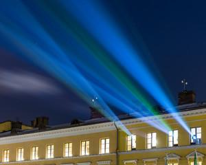 Light show at Helsinki Senate Square