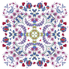 Design for square pocket, shawl, scarf, textile. Paisley floral pattern