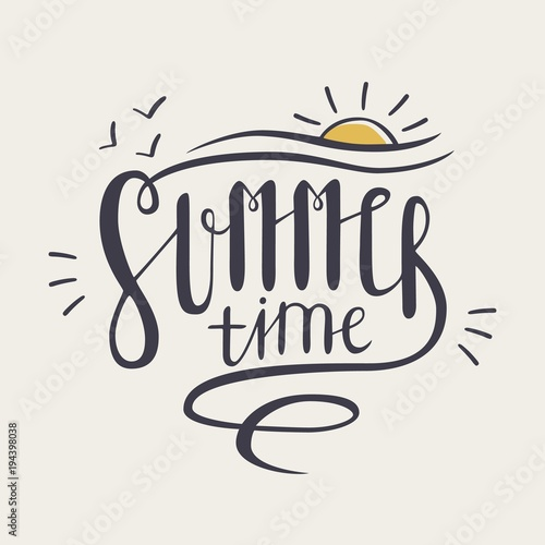 Summer Time Inscription Or Lettering Written With Creative Cursive Font And Decorated Hand Drawn Setting