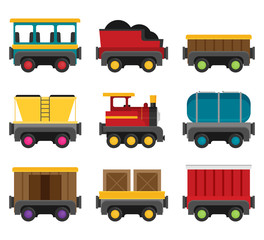 Colorful vector wagons for a train. Flat style set.