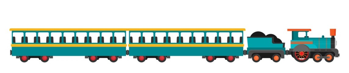 Colorful vector train. Flat style.