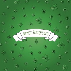 Happy St. Patrick's Day! Hand drawn doodle Ireland emerald shamrock set Vector illustration Sketchy Irish traditional floral icons elements background for invitation, greeting cards. Green trefoil