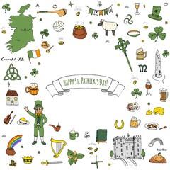 Happy St. Patrick's Day! Hand drawn doodle Ireland set Vector illustration Sketchy Irish traditional food icons elements Flag Map Celtic Cross Knot Castle Leprechaun Shamrock Harp Pot of gold