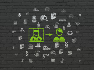 Law concept: Painted green Criminal Freed icon on Black Brick wall background with  Hand Drawn Law Icons