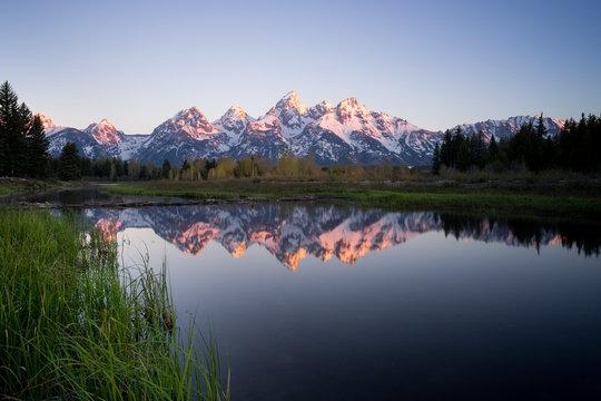 Teton Mountain Range reflection in Snake River, Wyoming, America, USA