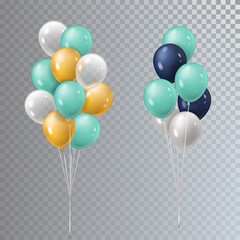Vector realistic 3D bunch helium balloons isolated.