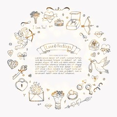 Hand drawn doodle Love and Feelings collection Vector illustration Sketchy Lovely icons Big set for Valentine's day, Mothers day, wedding, happy and romantic events. Hearts. Hans. Cupid. Bouquet.