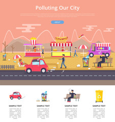 Polluting Our City Poster Vector Illustration