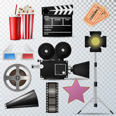 Realistic 3D vector cinema film industry object set isolated.