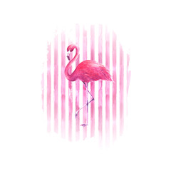 Flamingo on watercolor pink striped background