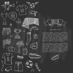 Hand drawn doodle Soccer set Vector illustration Sketchy sport traditional icons Cartoon typical football elements collection Football ball, cleats, goal, trophy, whistle, gloves, boots isolated