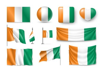 Set Ivory Coast flags, banners, banners, symbols, Cote d'Ivoire realistic icon. Vector illustration of collection of national symbols on various objects and state signs