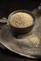 Raw quinoa seeds closeup
