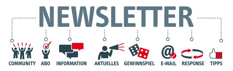Banner Newsletter Vektor Illustration Konzept mit Piktogrammen