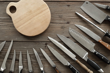 various kitchen knives
